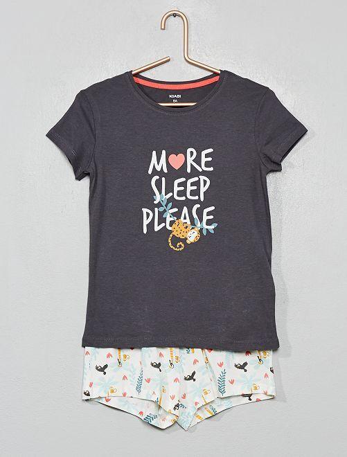 Pyjama court imprimé                                                                 gris