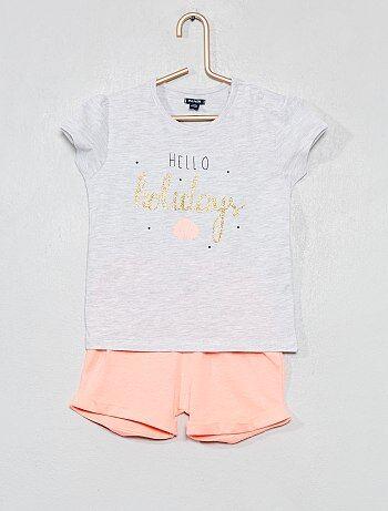 5892d2a6158ac Fille 0-36 mois - Pyjama court imprimé - Kiabi