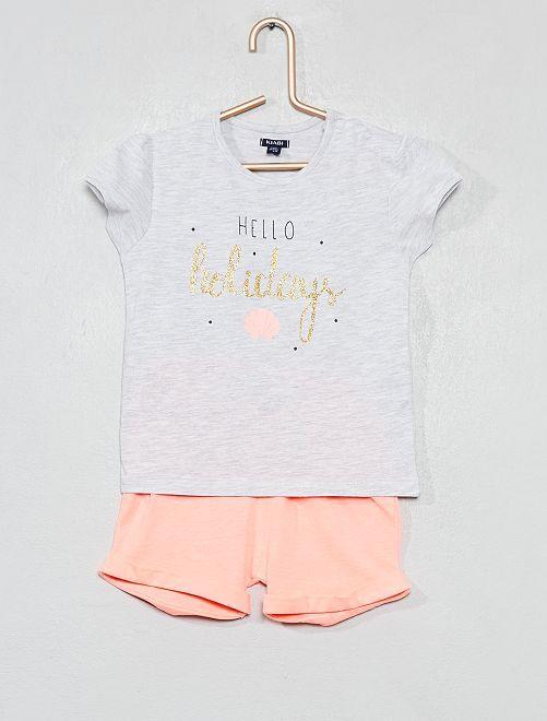 Pyjama court imprimé                                         gris/blanc Bébé fille