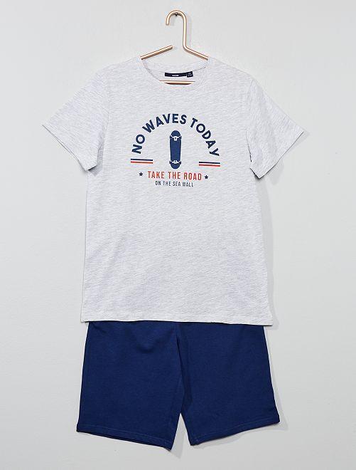 Pyjama court imprimé                                             gris/bleu