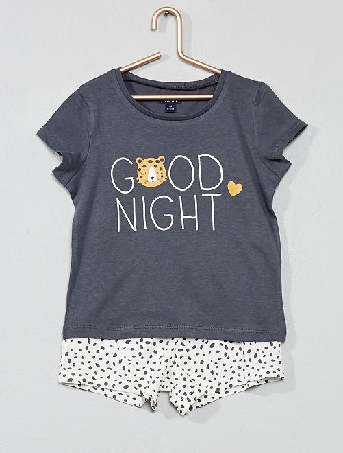 Pyjama court imprimé                                                                 gris/écru