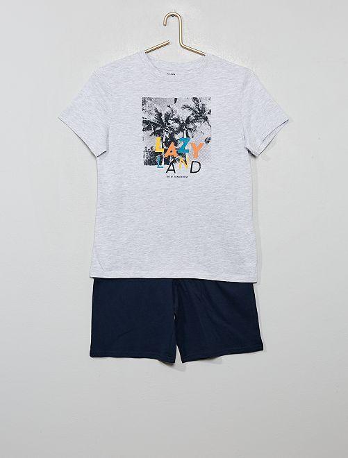 Pyjama court imprimé                                                     gris/palmier
