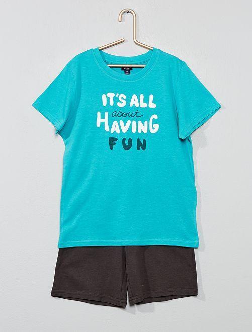 Pyjama court imprimé                                                                 gris/turquoise