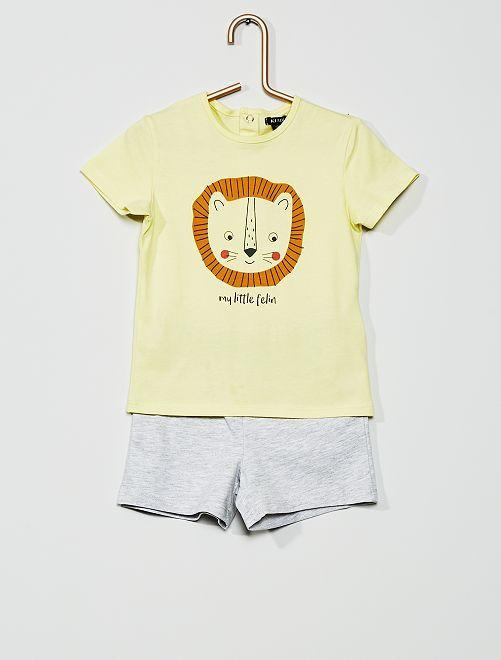 Pyjama court imprimé                                                                 jaune