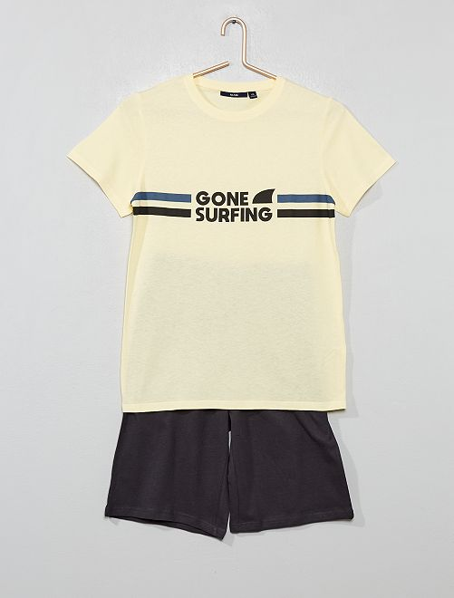 Pyjama court imprimé                                                     jaune/gris foncé