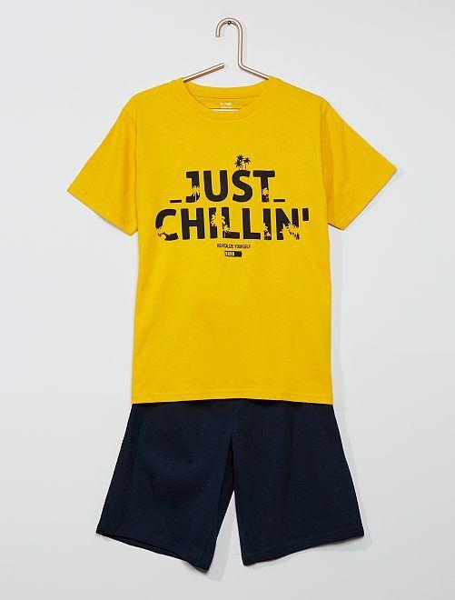 Pyjama court imprimé                                         jaune/marine