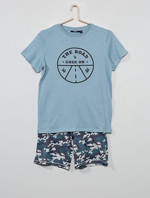 Pyjama court imprimé                                                                                         kaki/camouflage