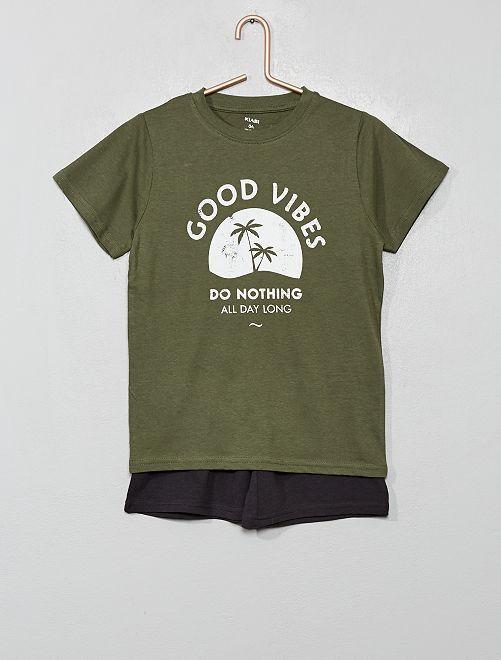 Pyjama court imprimé                                                                 kaki/gris