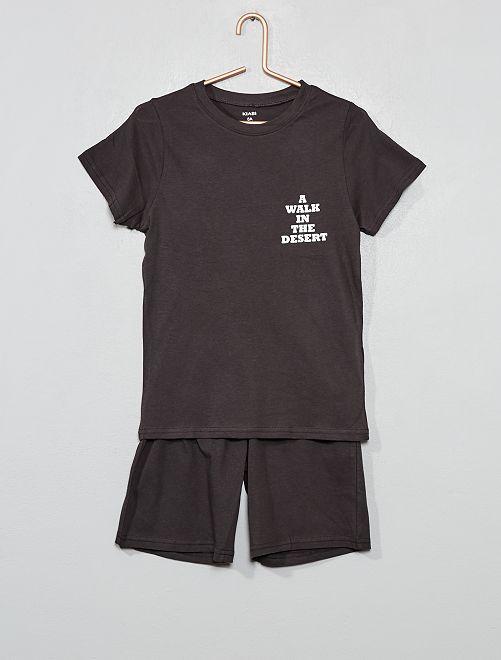 Pyjama court imprimé message                             gris foncé