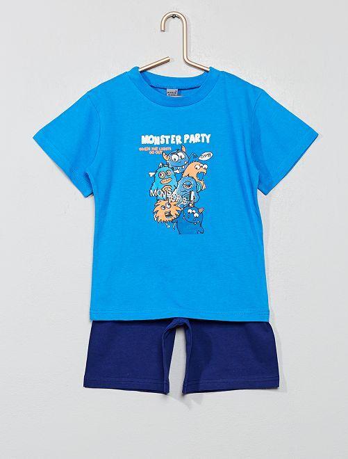 Pyjama court imprimé 'monstres'                             bleu