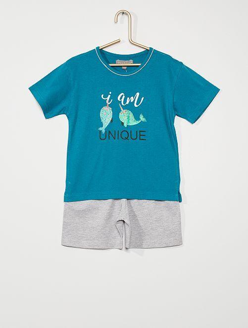Pyjama court imprimé pailleté                                         bleu/gris