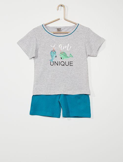 Pyjama court imprimé pailleté                                         gris/bleu