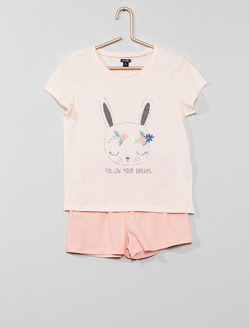 Pyjama court imprimé                                                                 rose Fille