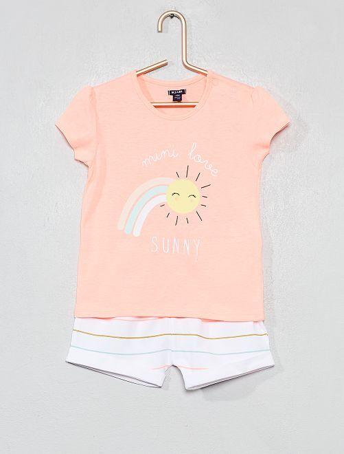 Pyjama court imprimé                                         rose/blanc Bébé fille