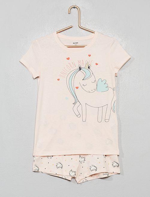 Pyjama court imprimé                                                                 rose/licorne