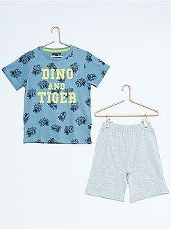 Garçon 3-12 ans Pyjama court imprimé 'tigre et dinosaure'