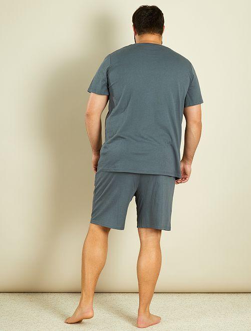 pyjama court jersey grande taille homme gris kiabi 10 00. Black Bedroom Furniture Sets. Home Design Ideas