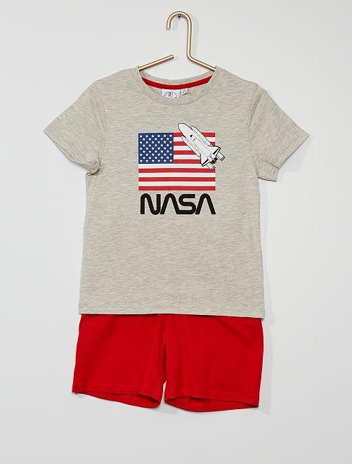 Pyjama court la 'Nasa'                             gris/rouge