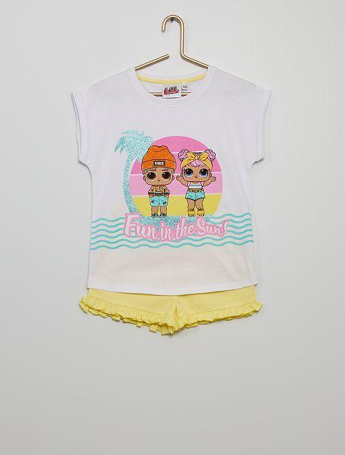 Pyjama court 'L.O.L. Surprise!'                             blanc/jaune