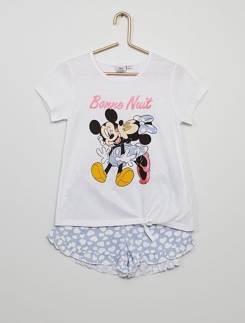 Pyjama court 'Mickey et Minnie'                             blanc/bleu