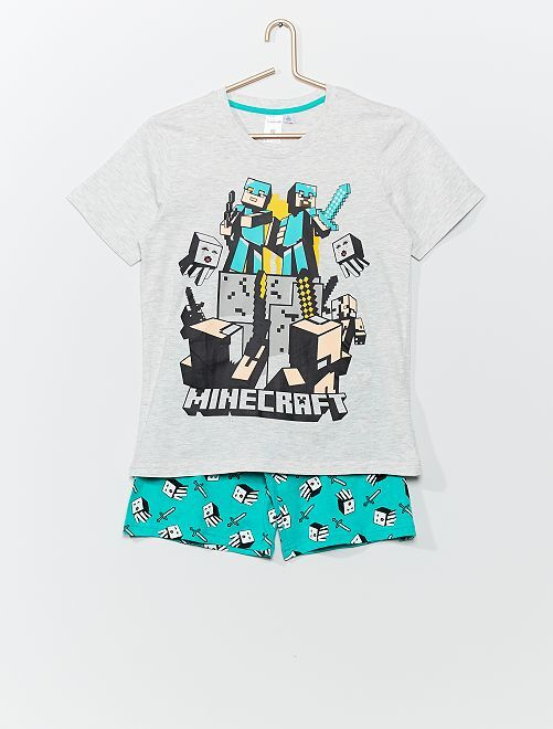 Pyjama court 'Minecraft'                             gris/turquoise