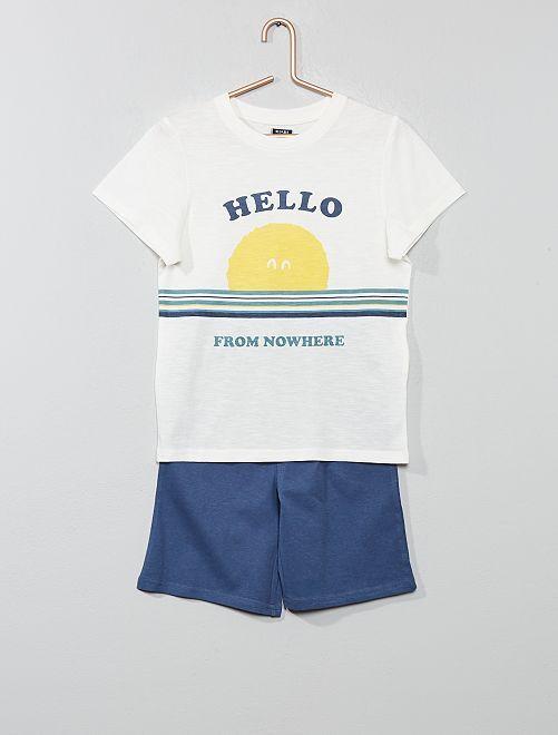 Pyjama court 'océan'                                                                 blanc/bleu Garçon