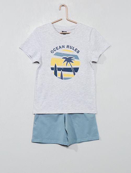 Pyjama court 'océan'                                                                 gris/bleu