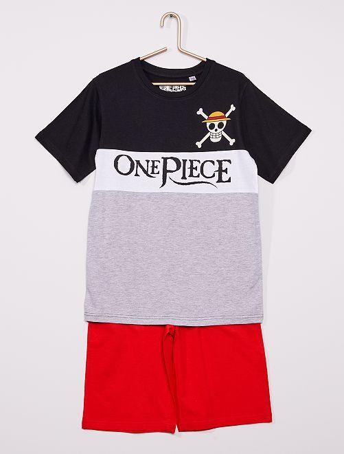 Pyjama court 'One Piece'                             gris/noir/blanc
