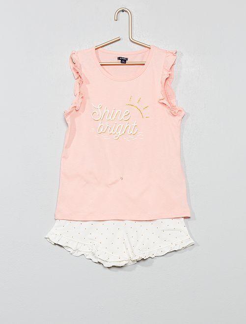 Pyjama court pailleté                                         rose