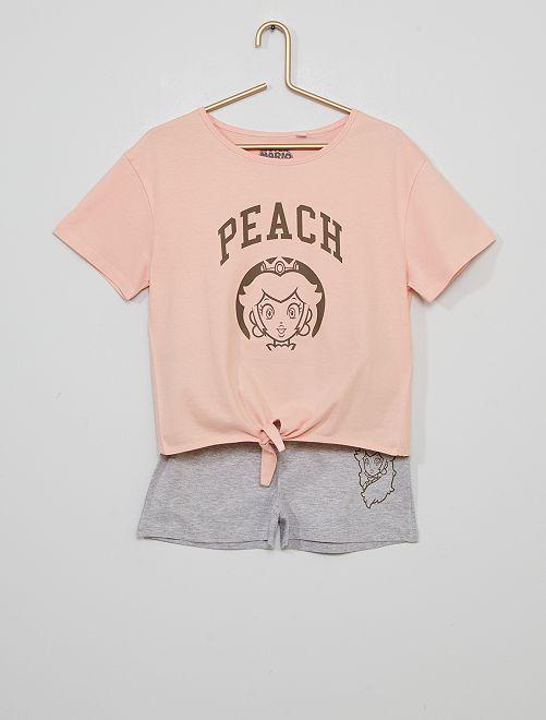 Pyjama court 'Peach'                             rose/gris