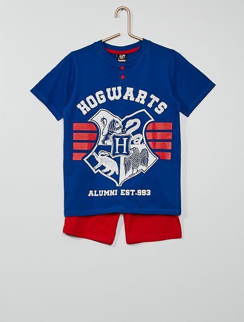 Pyjama court 'Poudlard' 'Harry Potter'                                         bleu/rouge
