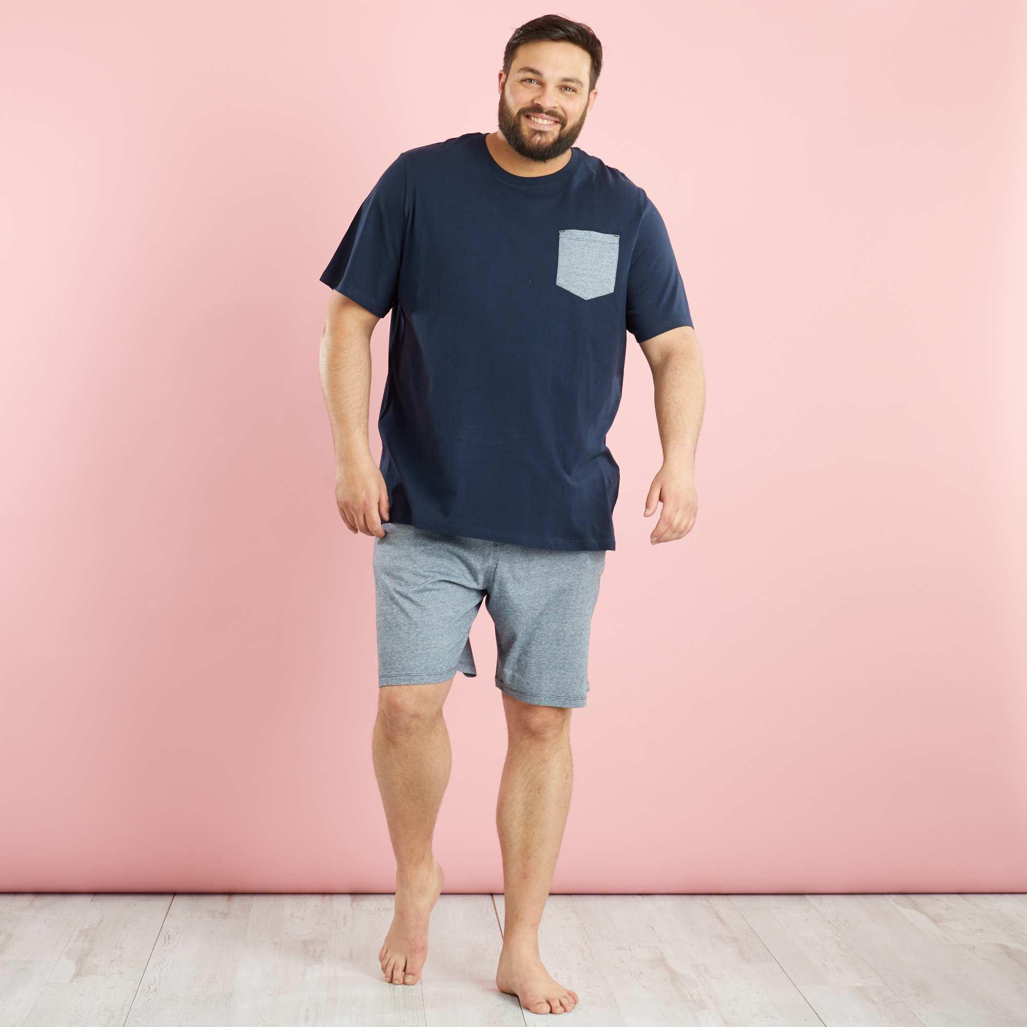 pyjama court pur coton grande taille homme kiabi 15 00. Black Bedroom Furniture Sets. Home Design Ideas