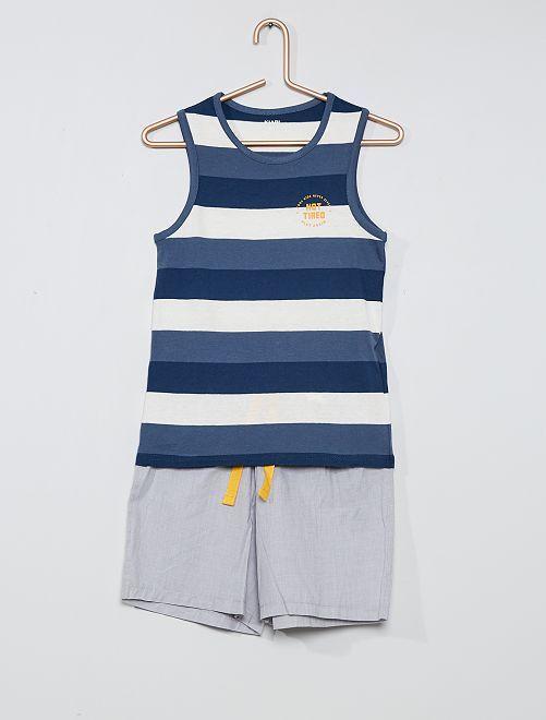 Pyjama court                                         rayé bleu