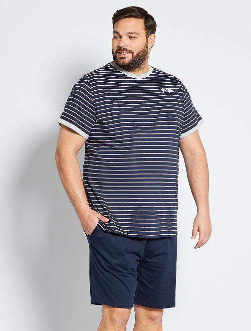 Pyjama court rayé                             bleu marine
