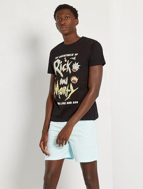 Pyjama court 'Rick et Morty'                             noir/turquoise pâle