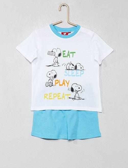Pyjama court 'Snoopy'                             blanc/bleu Bébé garçon
