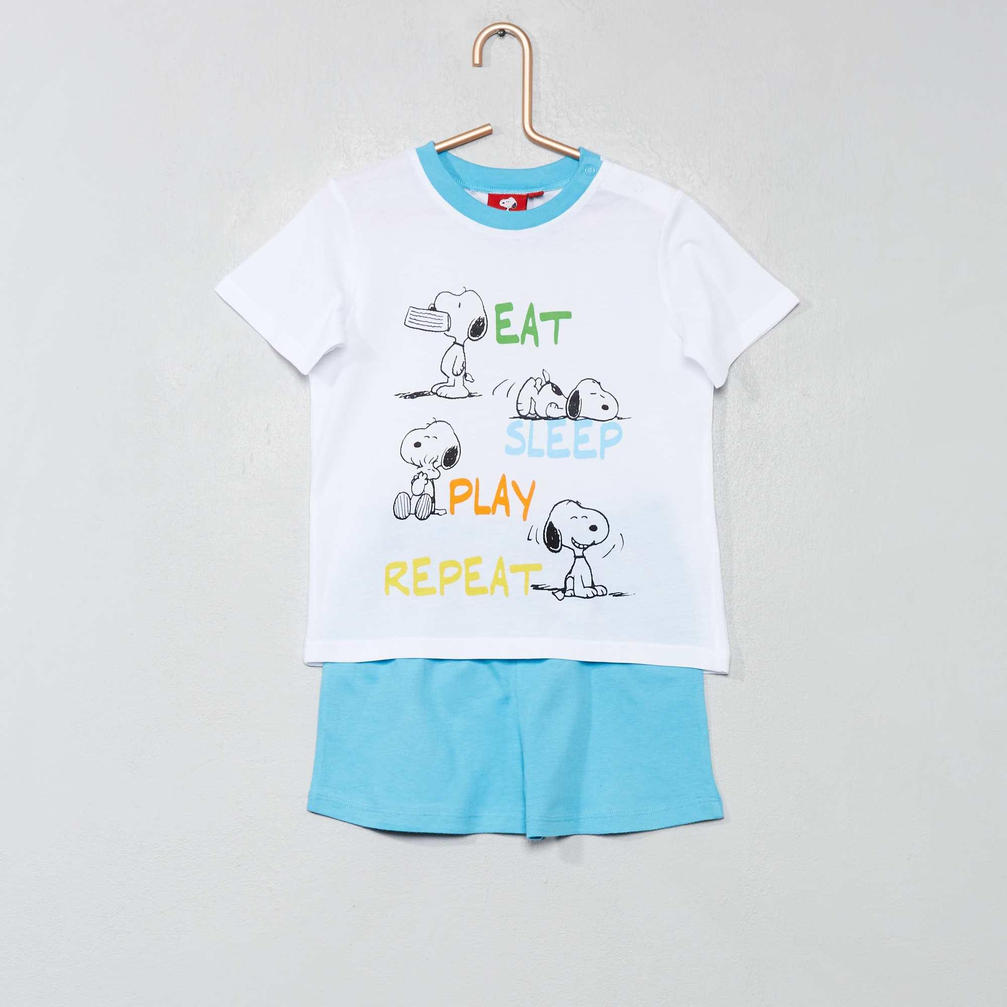 372b5b1ddb29d Pyjama court 'Snoopy' Bébé garçon - blanc/bleu - Kiabi - 11,70€