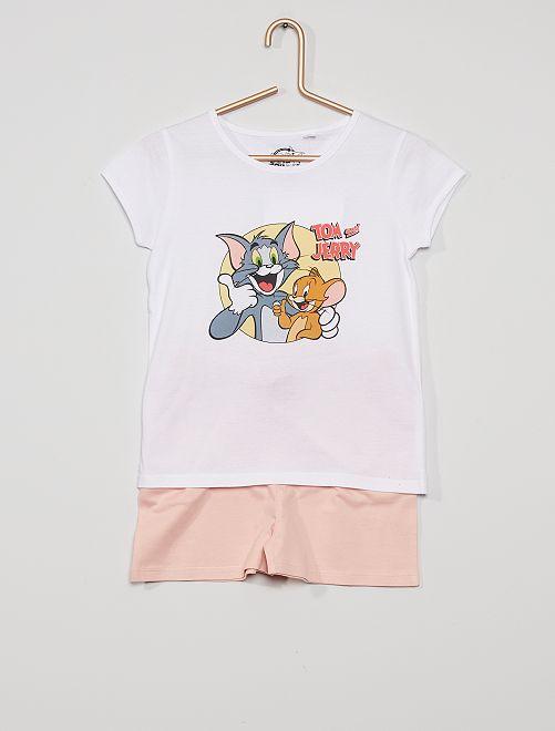 Pyjama court 'Tom and Jerry'                             blanc/rose