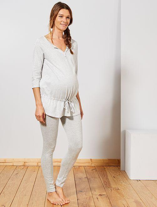 Pyjama de maternité en coton bio                                         gris