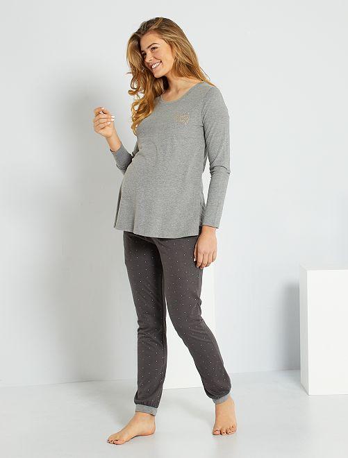 Pyjama de maternité et d'allaitement 'éco-conçu'                                         gris foncé