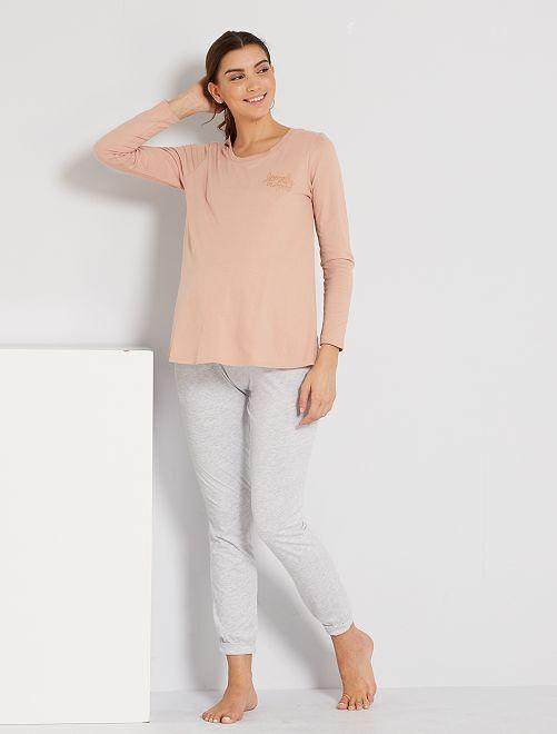 Pyjama de maternité et d'allaitement 'éco-conçu'                             rose/gris