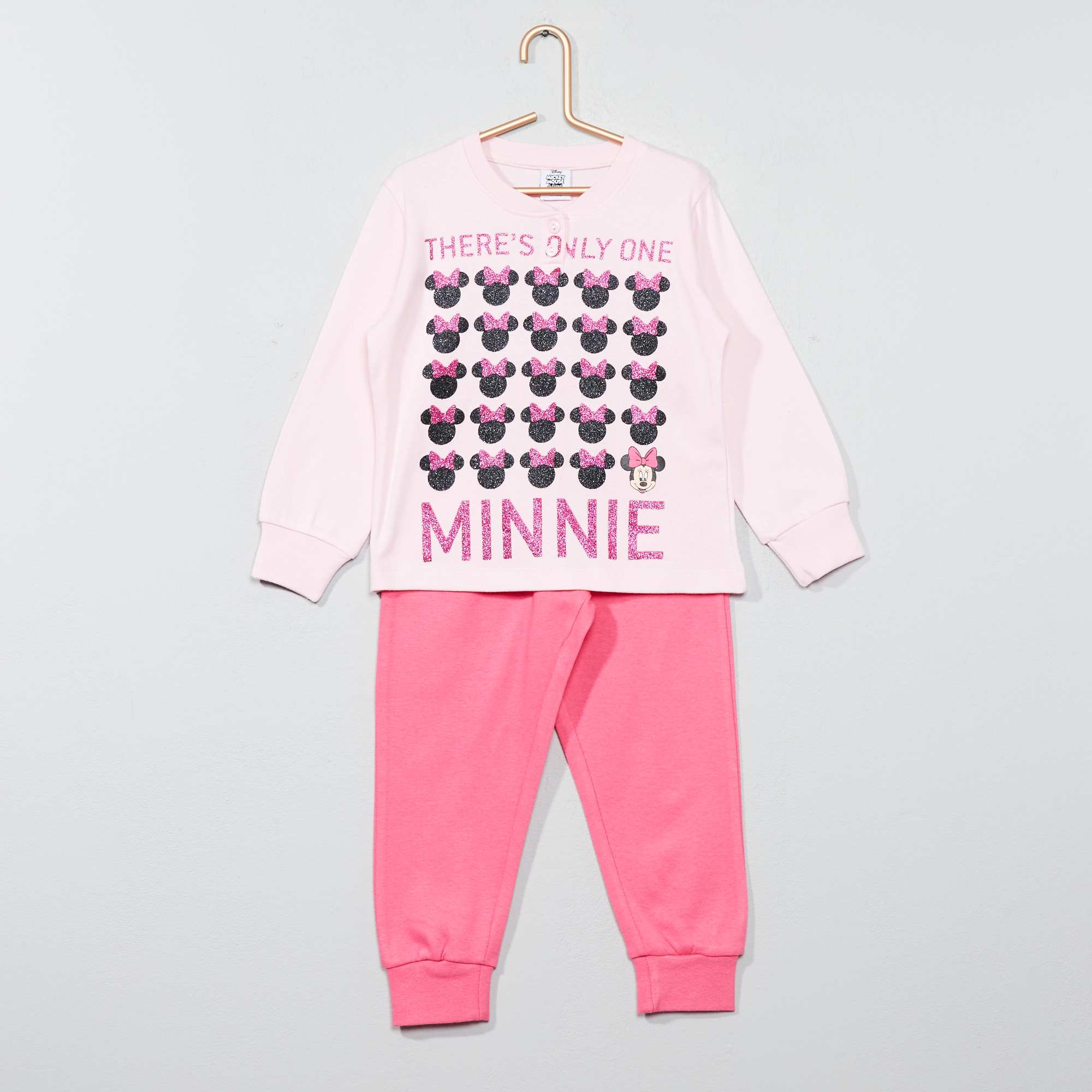 Couleur : rose, , ,, - Taille : 7A, 5A, 8A,6A,Brillant ce pyjama ! - Pyjama long 'Minnie Mouse' pur coton - Tee-shirt manches