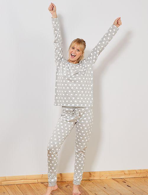 Pyjama 'éco-conception'                                                                                                                             gris clair coeur