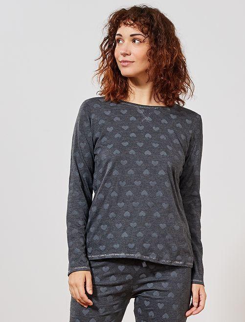 Pyjama 'éco-conception'                                                                                                                             gris foncé coeur