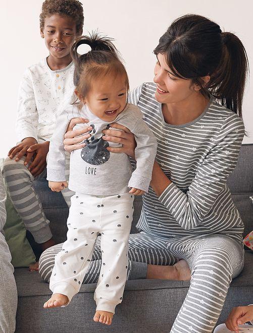 Pyjama en coton 'éco-conception'                                         gris/pois