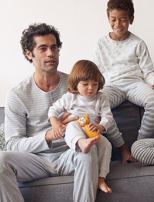 Pyjama en coton 'éco-conception'                                         gris/rayures