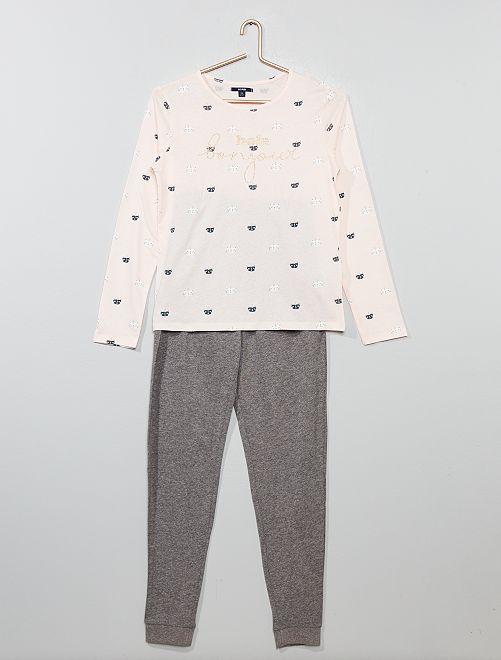 Pyjama en jersey 'chat licorne' pailleté                                         rose/gris chiné
