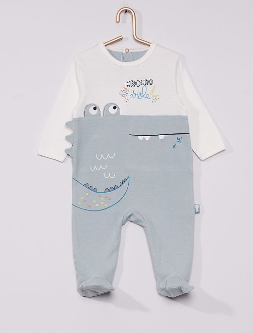 Pyjama en jersey 'crocodile'                             bleu