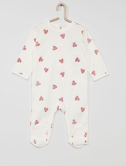 Pyjama en jersey 'éco-conçu'                                                                                                                                                                                                                                                                 blanc cœur