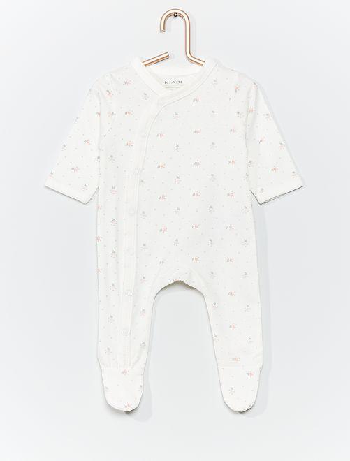 Pyjama en jersey éco-conçu                                                                                         blanc/fleurs